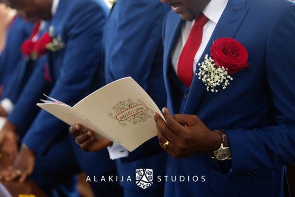 Royal Blue Suit Groomsmen And Red Wedding