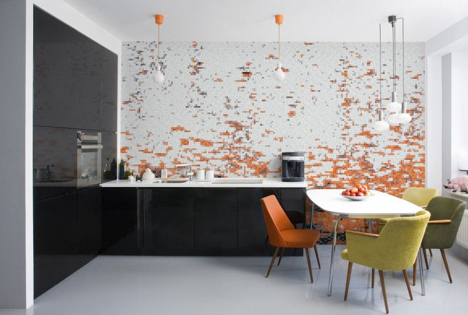 Decoration Awesome Modern Kitchen With Mosaic Wall Murals With Modern Wallpaper Murals Style