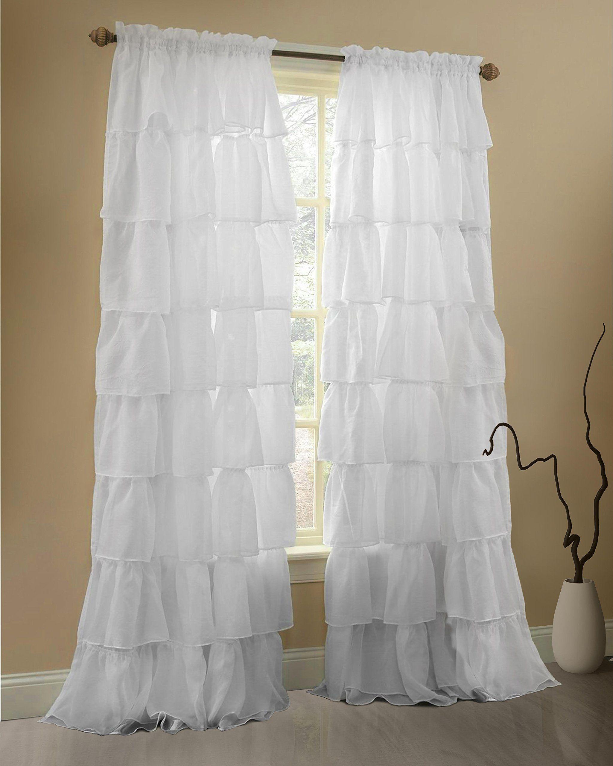 Gee di moda ruffle curtains rod pocket window curtains panels white