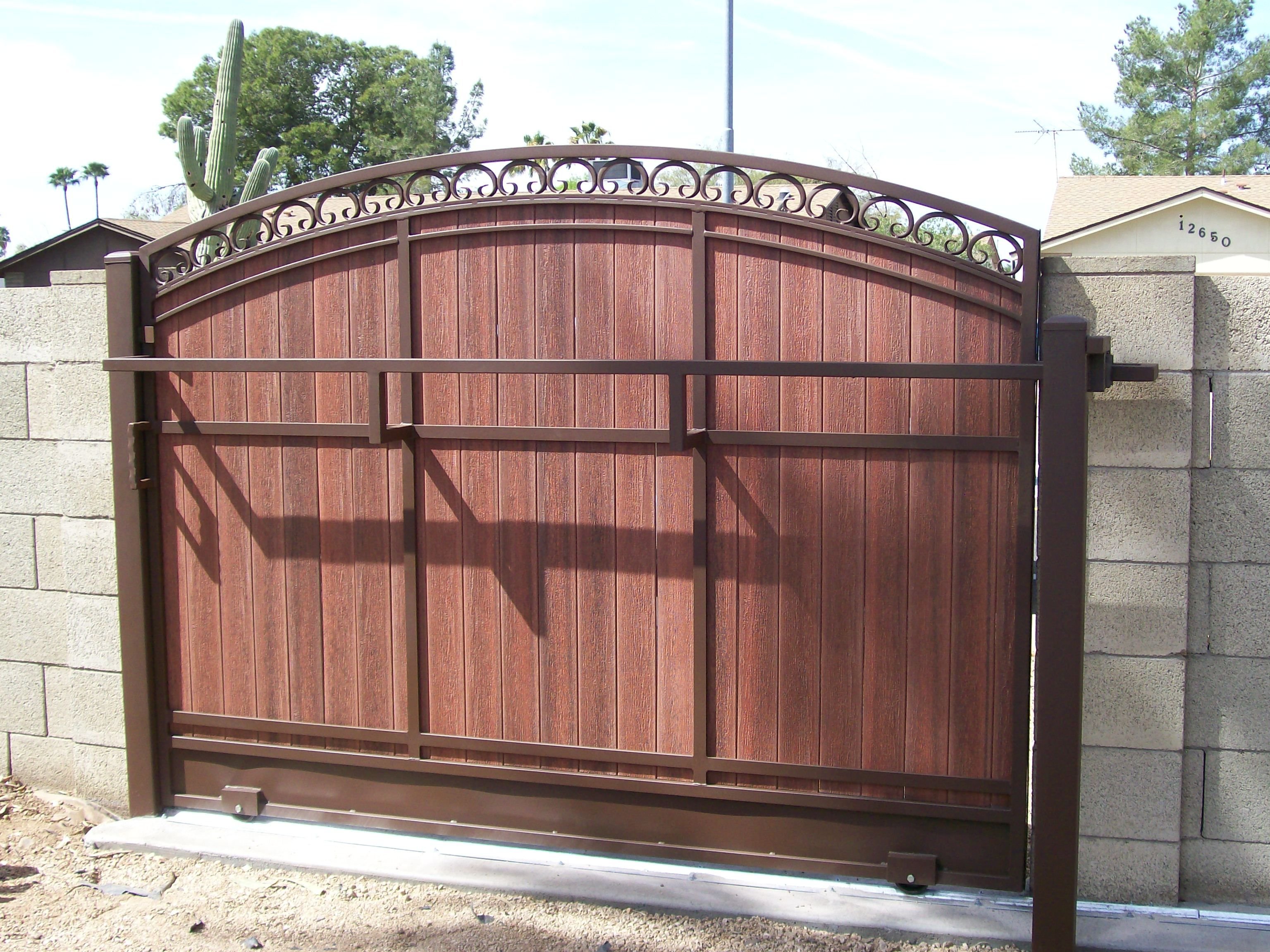 Galvanized steel frame drive gate fence dallas wood gate - Dcs Industries Rolling Gates Custom Gates Metal Gates Wooden Gates Phoenix