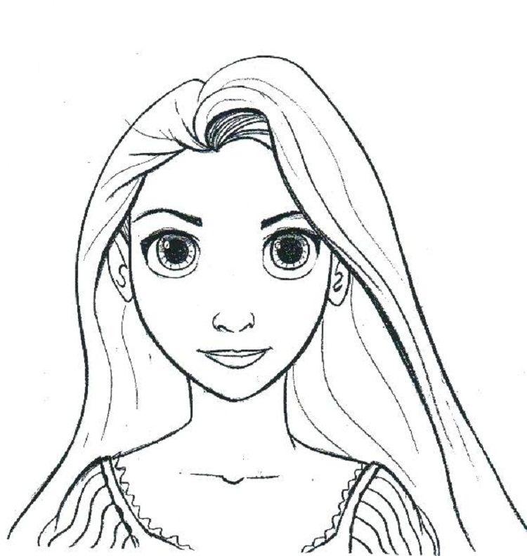 Rapunzel Face Coloring Pages Rapunzel Drawing Disney Coloring
