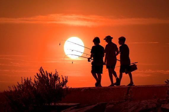 Lake Sunset, Boys Going Fishing, Recreation Fishermen