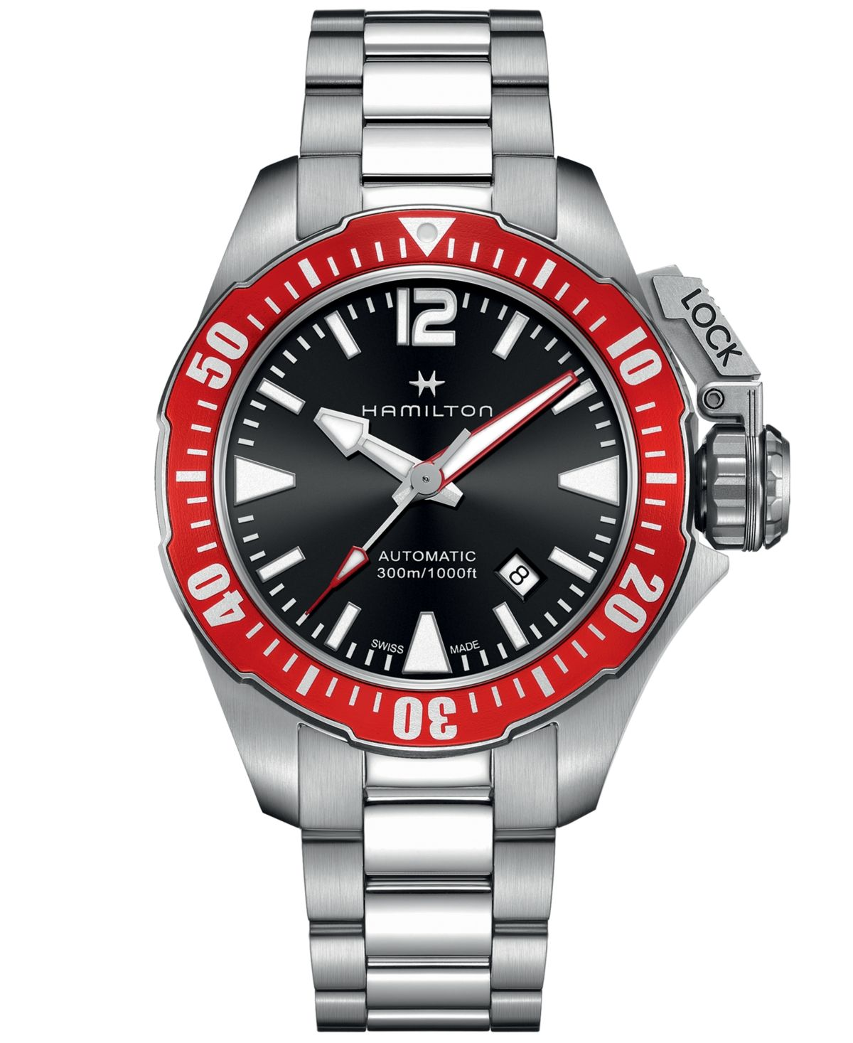 Hamilton Men's Swiss Automatic Khaki Frogman Stainless Steel Bracelet Watch 42mm #stainlesssteelrolex