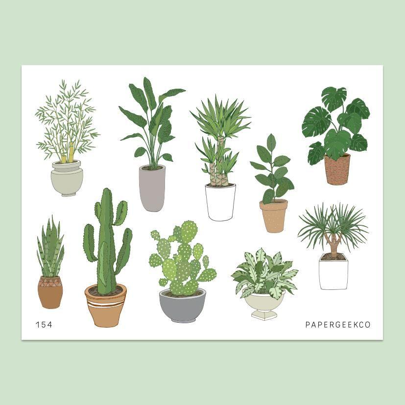 Indoor Plants Stickers vol.2 - 154 -   17 indoor plants Watercolor ideas