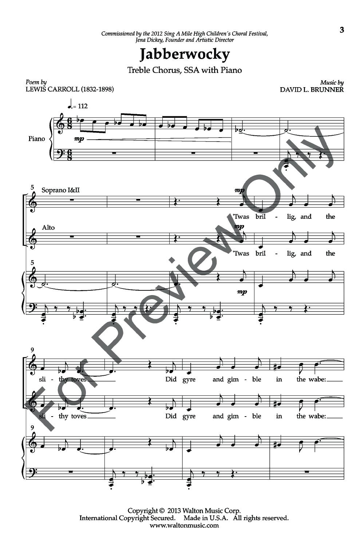 Jabberwocky (SSA) by David L. Brunner| J.W. Pepper Sheet Music