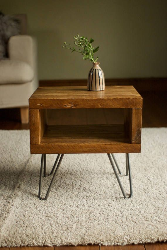 Bedside Side Table Reclaimed Wood On Hairpin Legs End Table Industrial  Rustic Modern Furniture Scaffold Boards Upcycled Furniture Nightstand |  Patas ...