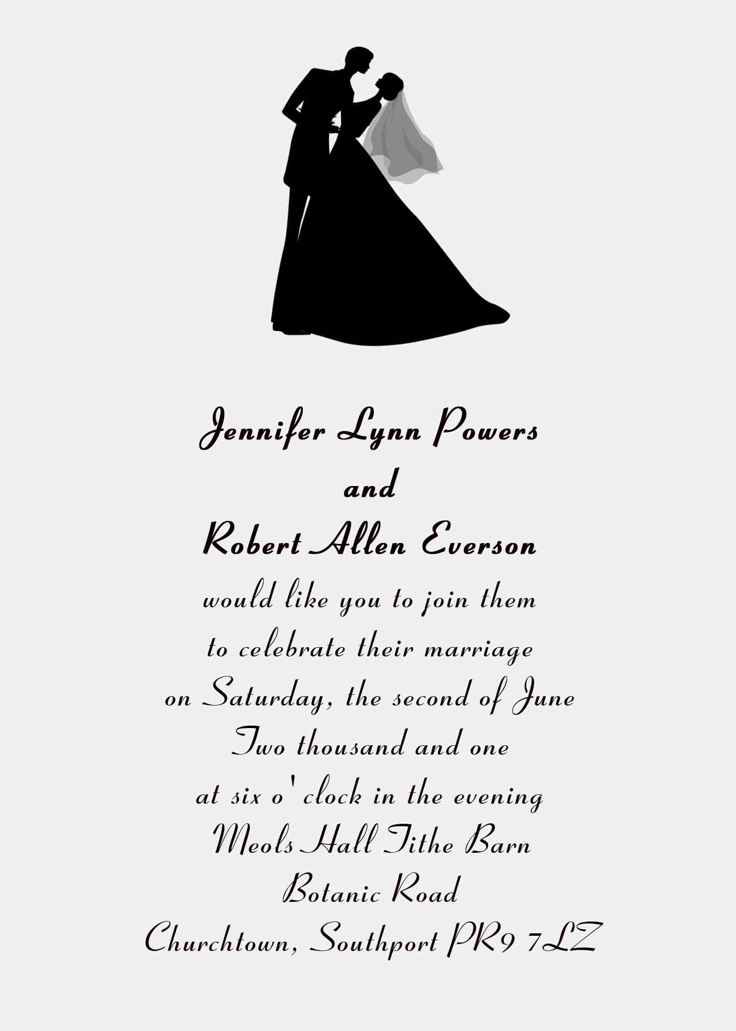 Bridal Wedding Card Quotes Invitations Silhouette Unique Invitation Wording Cards