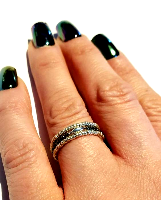 Thumb Rings Minimalist Jewelry Index Finger Ring. Rings For Women Pinky Rings Gifts For Wife Silver Stacking Wedding Band Set