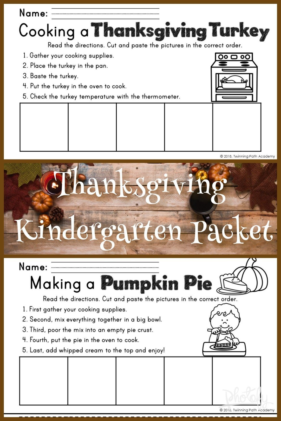 Kindergarten Thanksgiving Packet