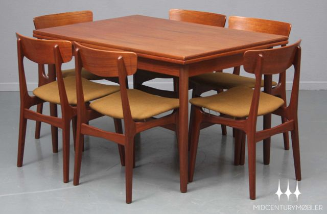 Beautiful Danish Modern Mid Century Dining Set In Teak Danish Modern Dining Table Danish Dining Chairs Retro Mid Century Furniture
