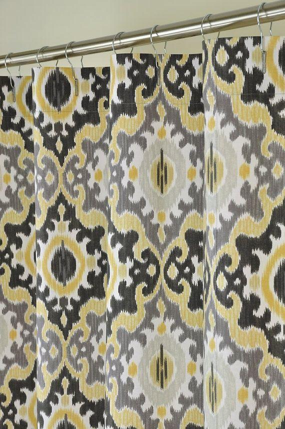 Grey Shower Curtain Yellow Grey Ikat Shower Curtain Home Decor