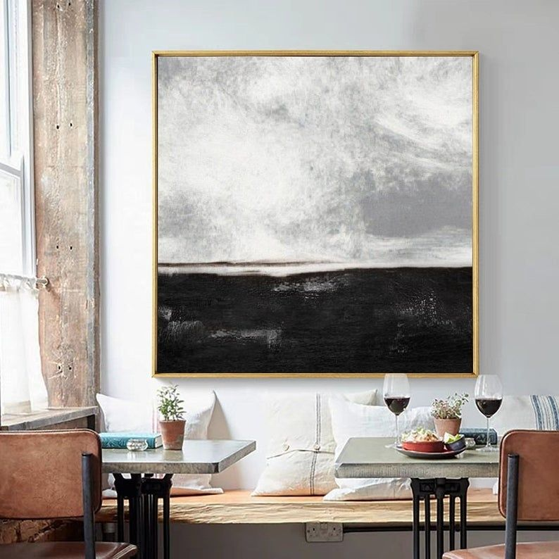 Black White Paintinglarge Abstract Painting Landscape Etsy Large Abstract Wall Art Horizontal Wall Art Large Abstract Painting