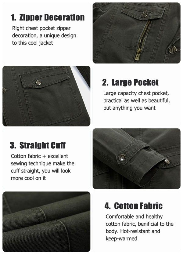 jeep rich men cotton multi pocket single breasted casual. Black Bedroom Furniture Sets. Home Design Ideas
