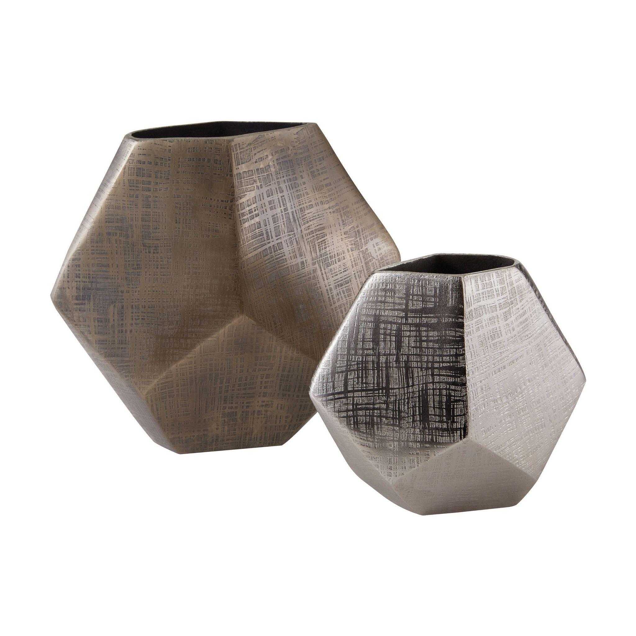 faceted cube vases matt bronze matte aluminum products