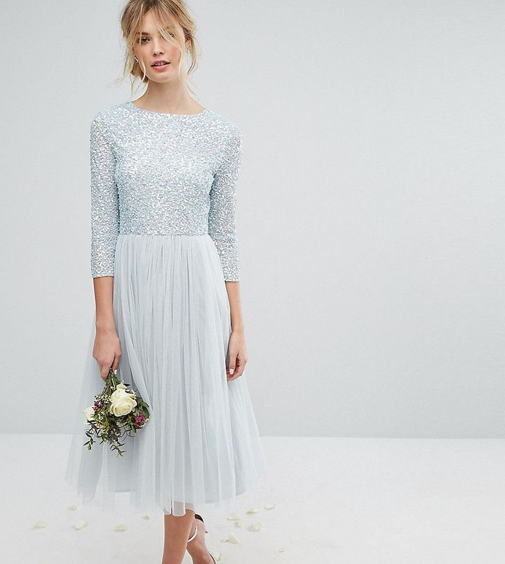 424fa9efdf Maya Tall 3 4 Sleeve Midi Dress With Delicate Sequin And Tulle Skirt ...