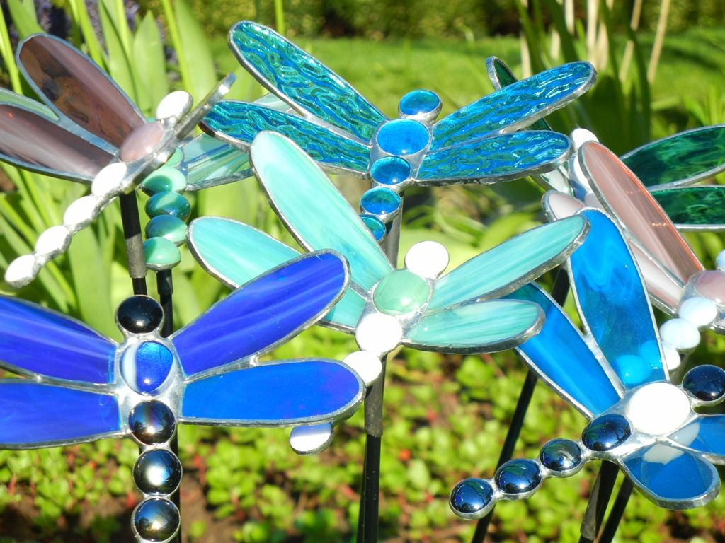 Fused glass yard art - Stained Glass Garden Stakes Patterns Lots Of Stained Glass Dragonfly Garden Stakes Getting Ready To