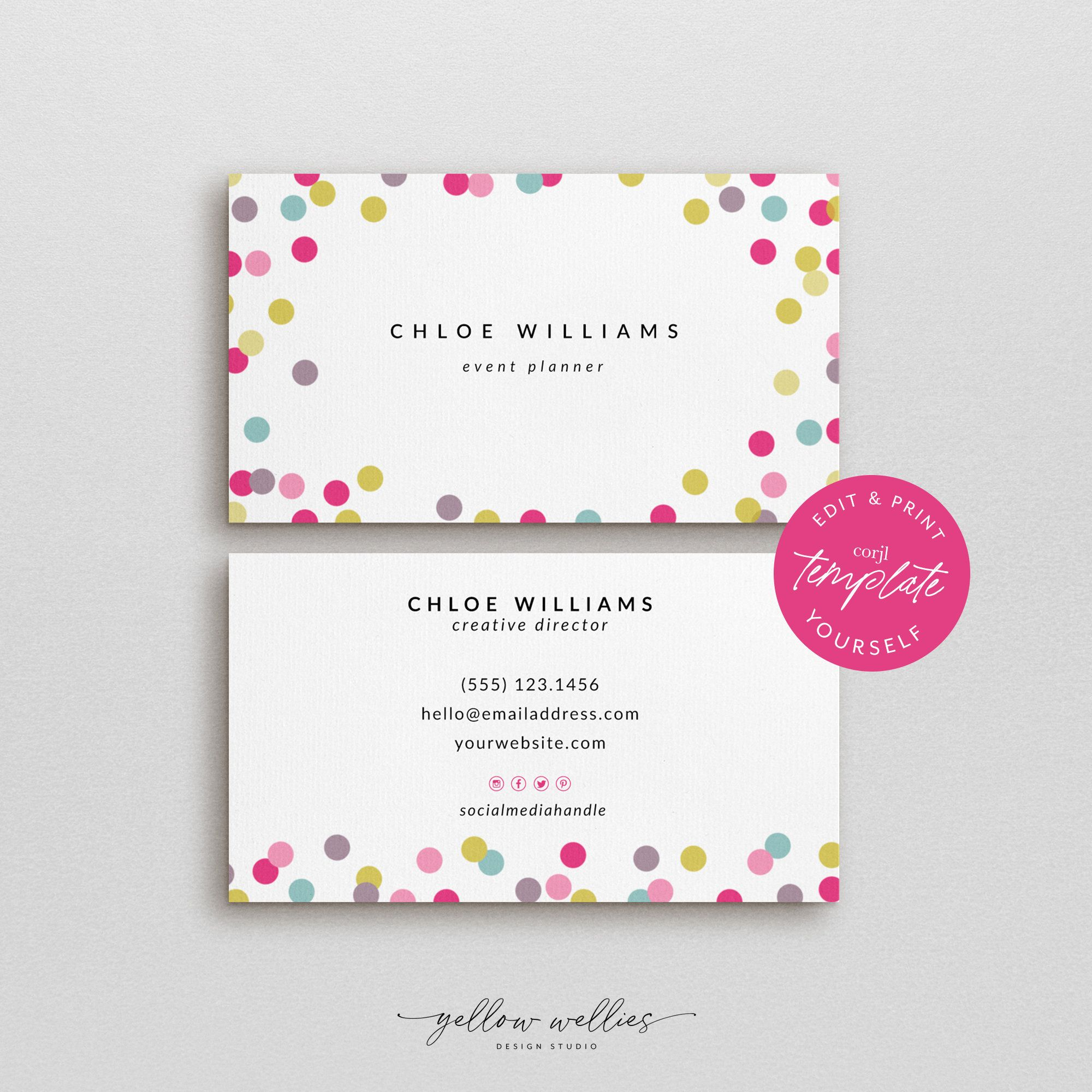 Corjl Editable Business Card Confetti Polka Dot Business Etsy Printable Cards Colorful Business Card Diy Cards