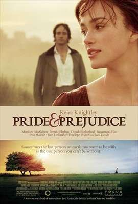 """Pride and Prejudice"" (2005) Jane Austen classic. ""Sparks fly when spirited Elizabeth Bennet meets single, rich, and proud Mr. Darcy. But Mr. Darcy reluctantly finds himself falling in love with a woman beneath his class. Can each overcome their own pride and prejudice?"" from www.imbd.com"