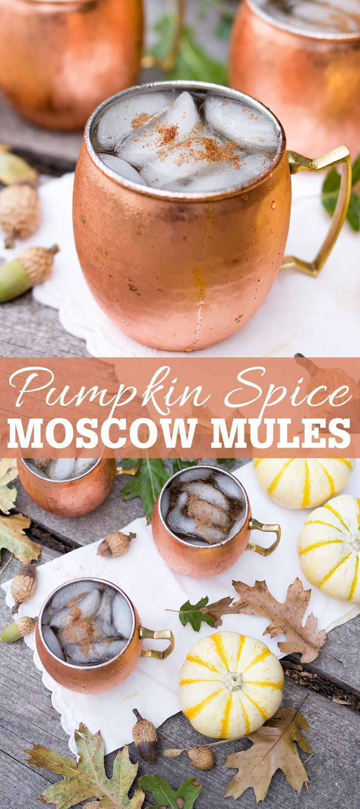 Pumpkin Spice Moscow Mules made with vodka, ginger beer, fresh pumpkin and pumpkin pie spice make for the perfect fall cocktail! #falldrinks