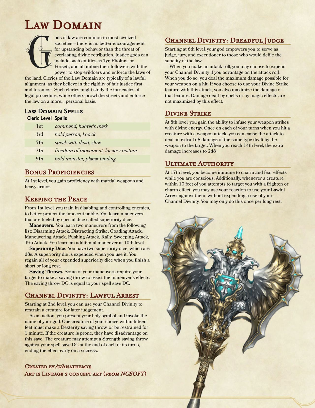 Law Domain Cleric By Anathemys Dungeons And Dragons Classes Dungeons And Dragons Game Dungeons And Dragons Homebrew