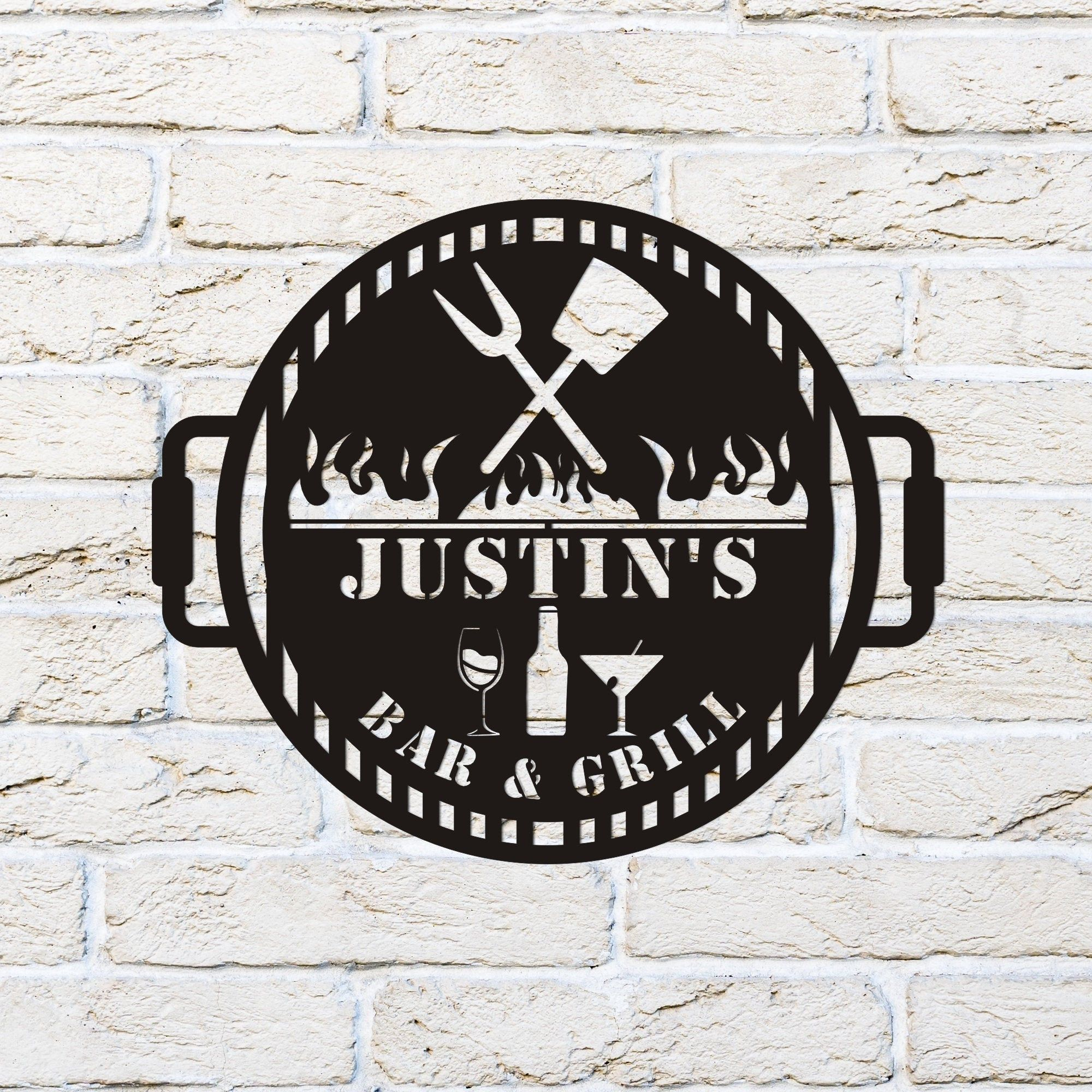Bar and Grill Custom Metal Sign, Personalized Bar Sign, Whiskey Sign, Metal Family Name Sign, Pub Sign, Pub Wall Decor, Irish pub