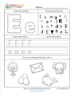 abc worksheets letter e alphabet worksheets cat. Black Bedroom Furniture Sets. Home Design Ideas