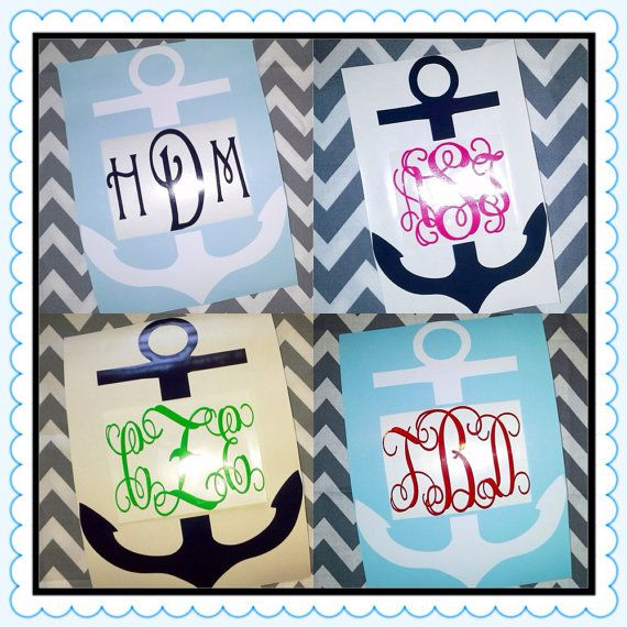 Can i create my own anchor monogram car decal personalized vinyl by marshmallowdream