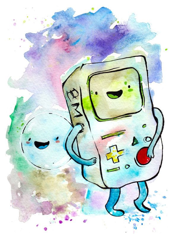 I Love This Lady S Art Go Buy Some Bmo And Bubble From Adventure Time Bmo And Bubble Mini Print 5x7 Inch Inch I Adventure Time Adventure Adventure Time Art