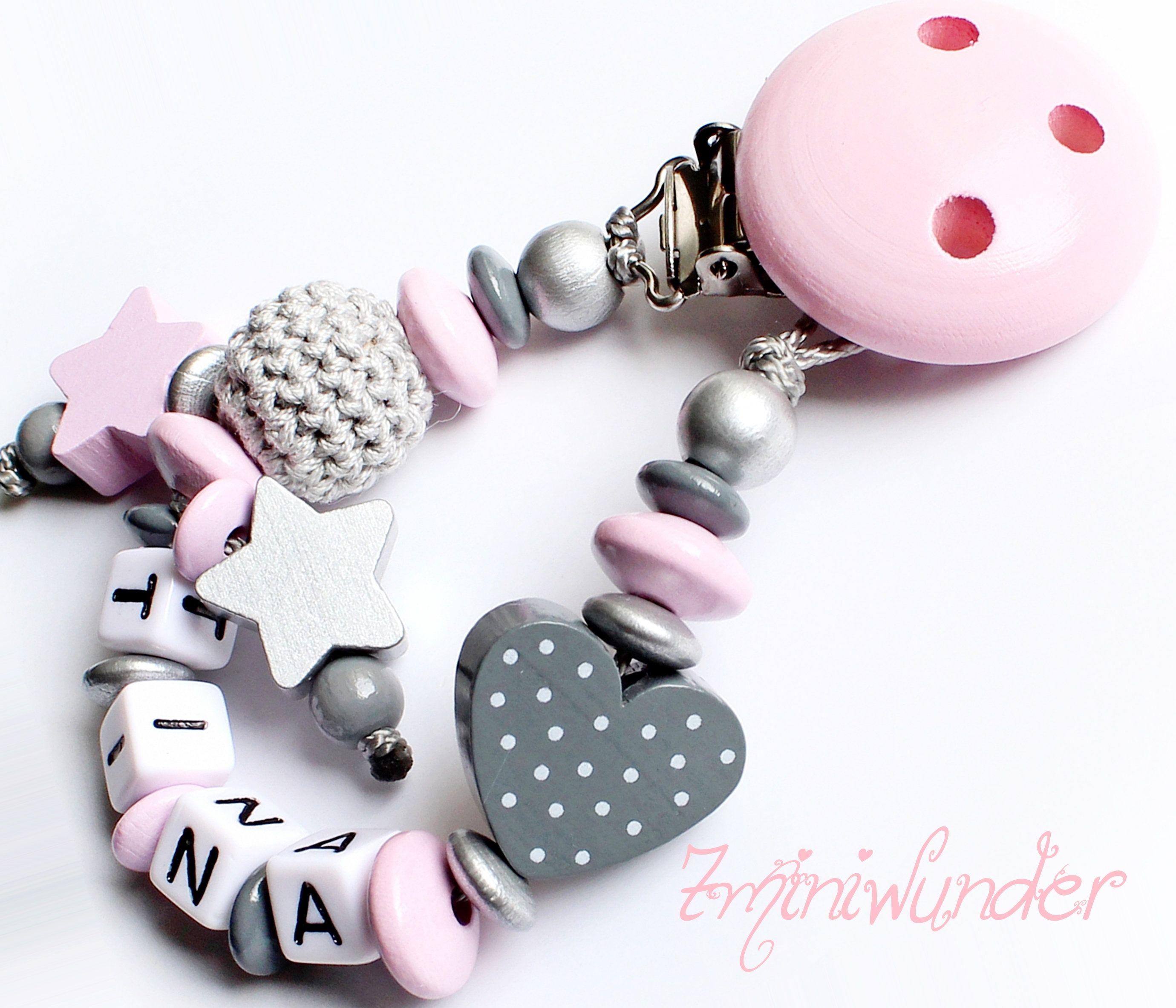 Schnullerkette mit Namen ♥ Mädchen ♥ Wolke ♥ Babygeschenk rosa Geburt taufe