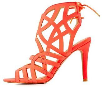QUPID CAGED TIE-BACK SANDALS-$38.99  THE ONLY &CUTE SANDALS!  Always Adore this! Anyone love it as much as i do? #FASHION #RAINBOW #CORAL