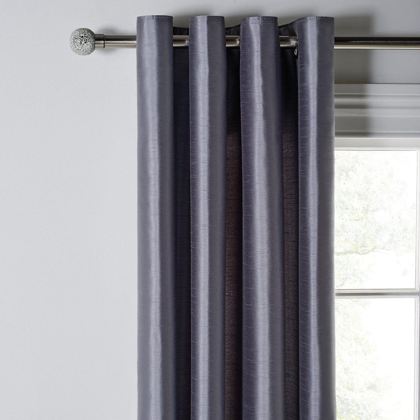 Buy Argos Home Faux Silk Lined Eyelet Curtains Dove Grey Curtains In 2020 Faux Silk Curtains Curtains Silk Curtains
