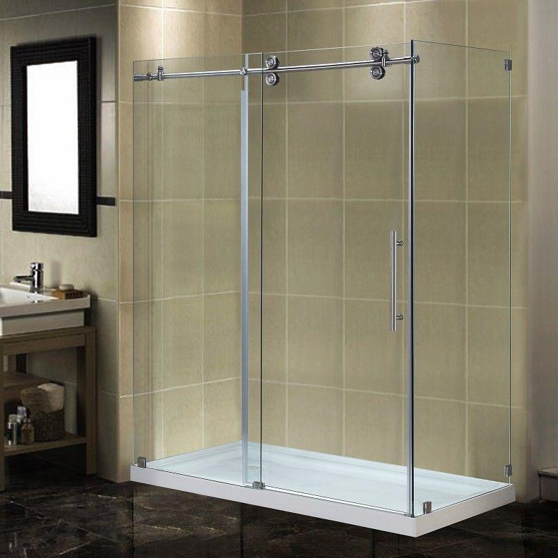 Langham 60 X 77 5 Rectangle Sliding Shower Enclosure Sliding Shower Door Shower Doors Frameless Sliding Shower Doors