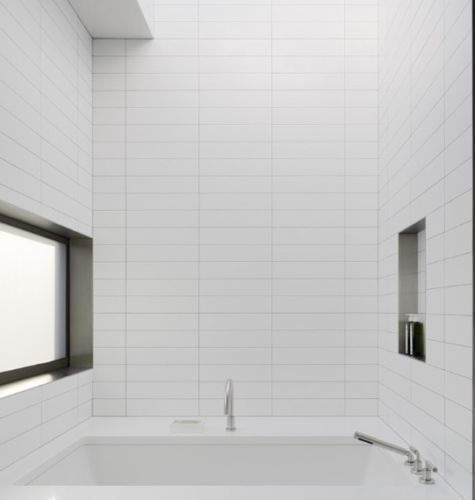 100x400 White Studio Tile Stacked Pattern Patterned Bathroom Tiles Tile Bathroom Bathroom Wall Tile
