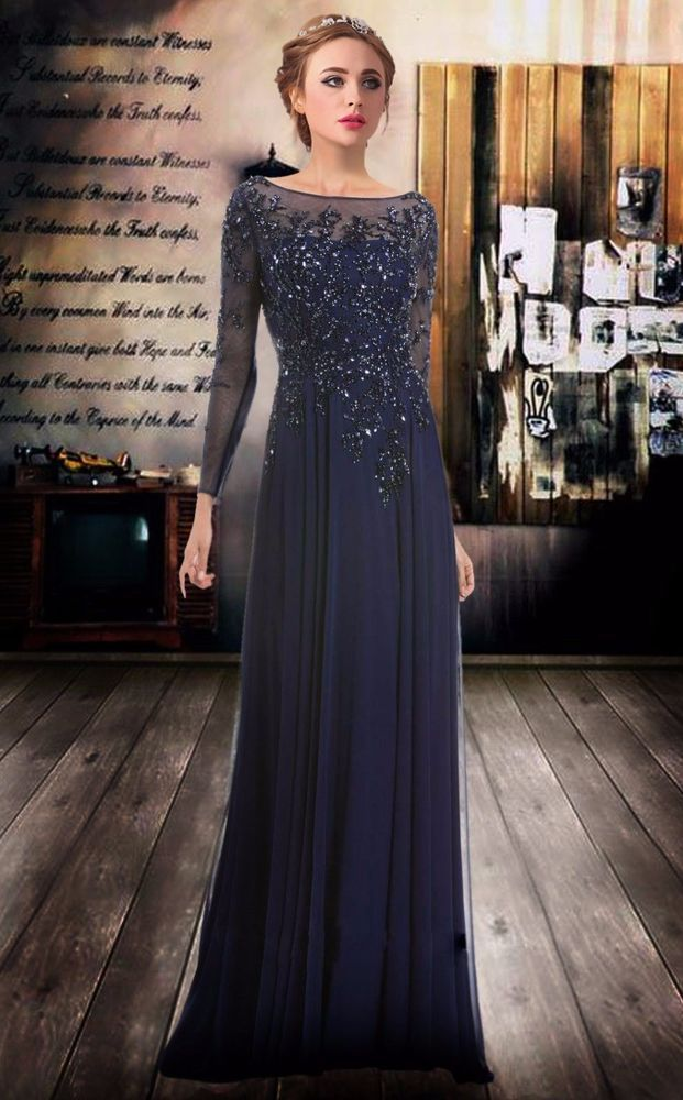 Chiffon Long Sleeve Applique Beaded Pageant Prom Gown Formal Party ...