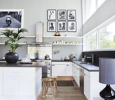 Couleur grise et blanc pour cuisine ouverte sur salon Design