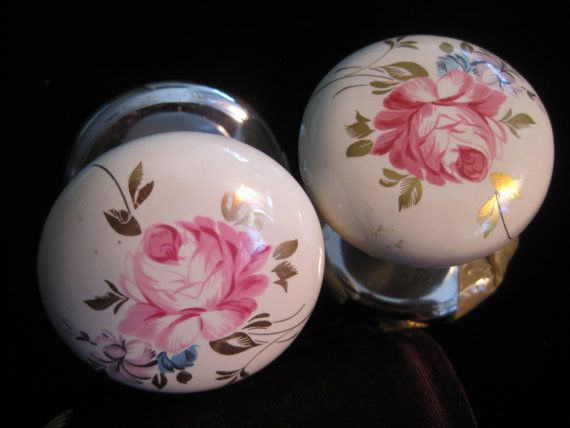 Porcelain Door Knobs Painted Flower Set Round Pink Roses Gold Gild ...