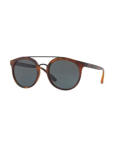 4cb20f9d8c74e Burberry Round Embossed Double-Bridge Sunglasses Havana