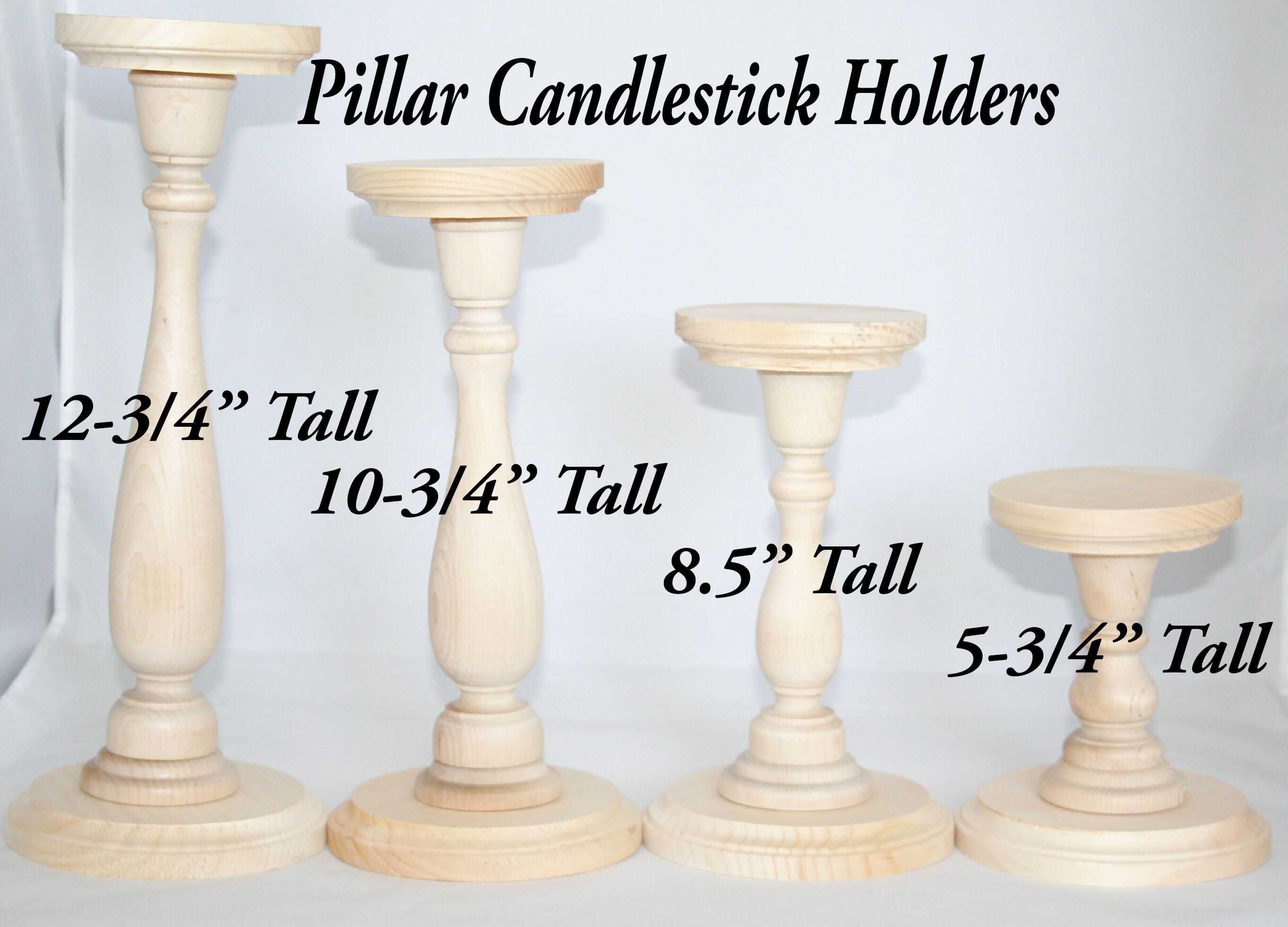 Unfinished Wood Pillar Candlestick Holders Diy Wedding Accents Tall Table