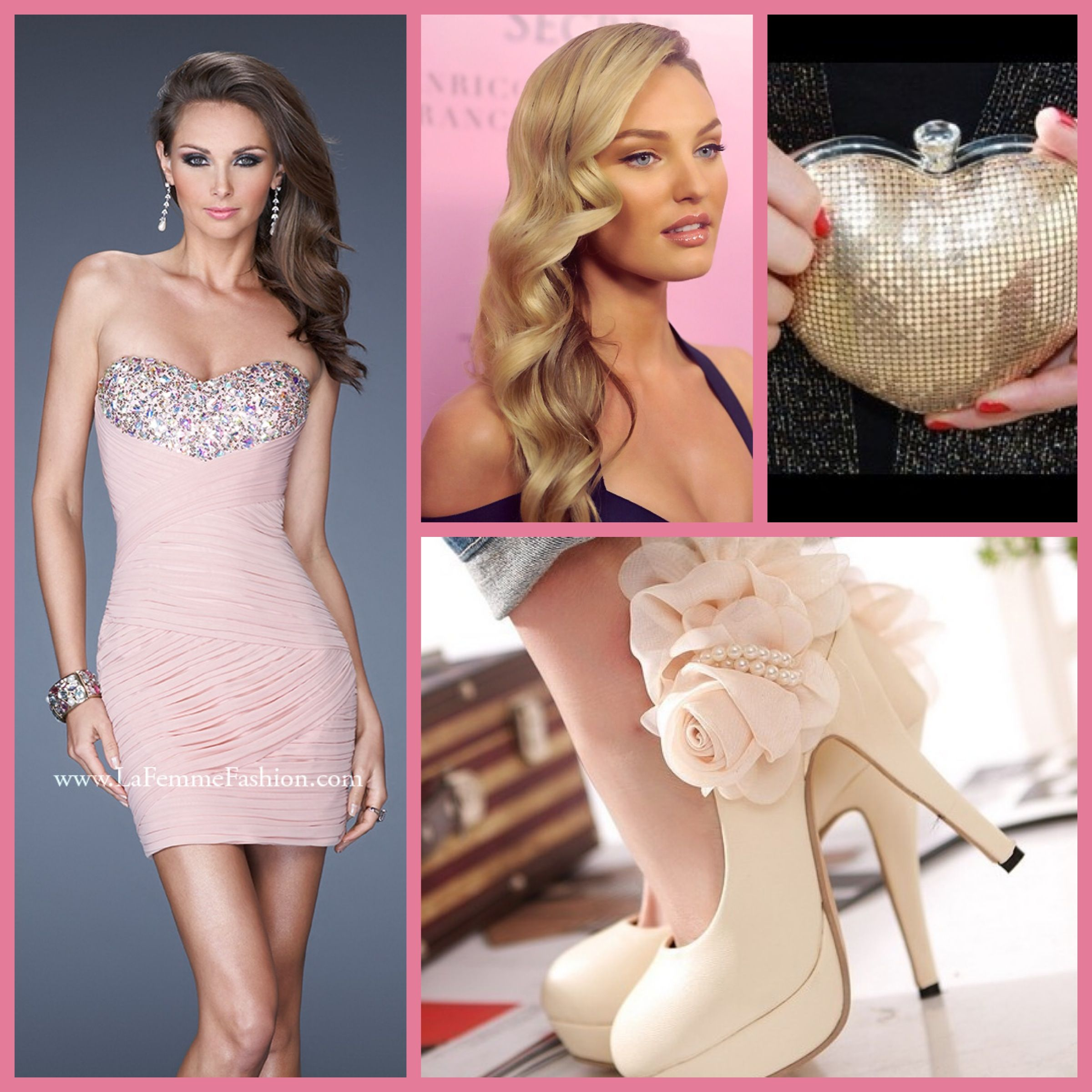 Makeup with light pink dress  La Femme style   blush  homecoming dress  prom dress