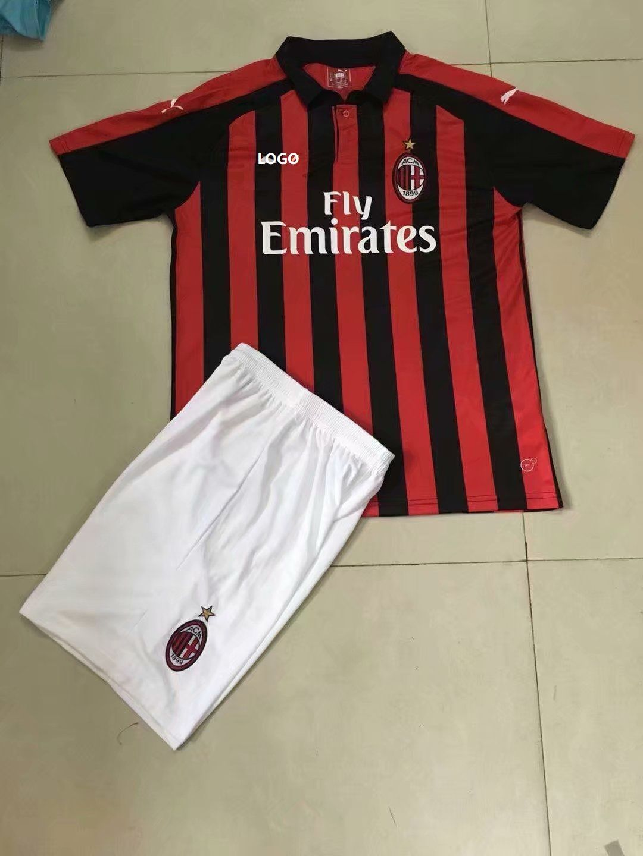 d363fc675 2018 19 AC Milan Home Soccer Uniform Men Football Kits