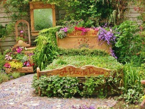 Creative landscaping ideas with old bed my gardens ideas for Creative landscaping ideas