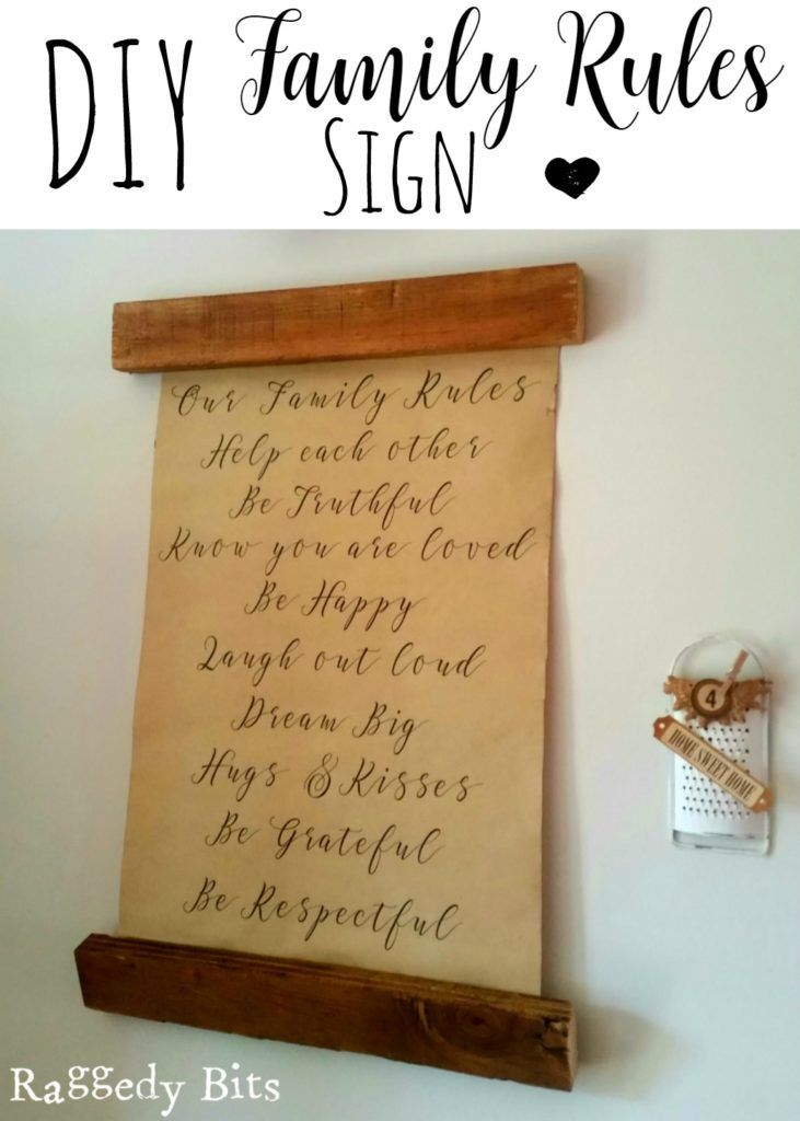 Full tutorial on how to make your very own DIY Family Rules Sign |www.raggedy-bits.com