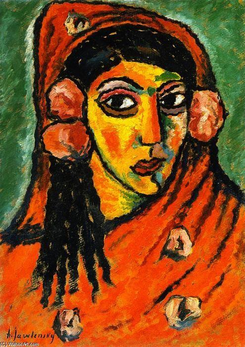"""""""Mulher espanhola com véu vermelho""""-Alexei von Jawlensky (1864-1941)"""