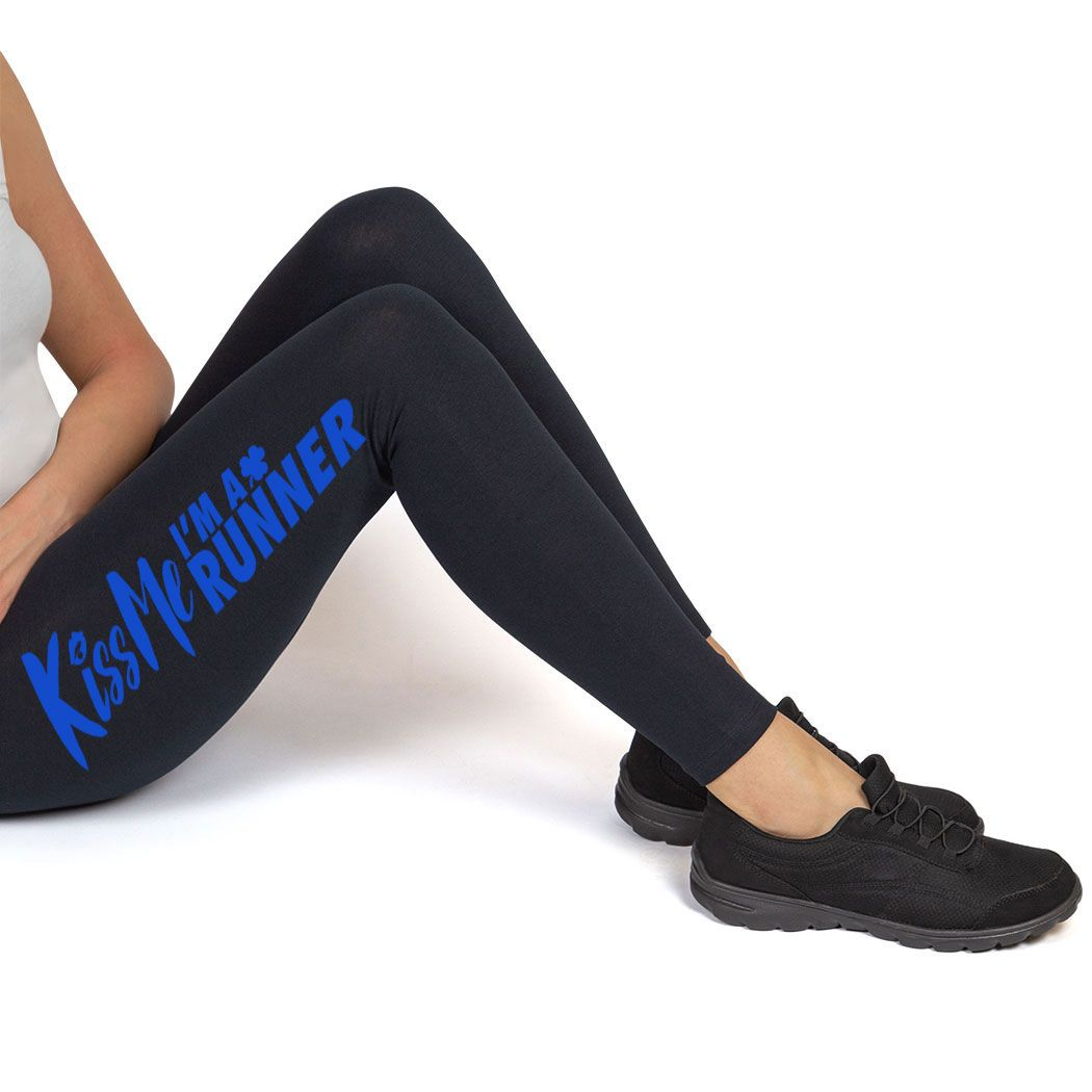 Runner S Printed Leggings Thigh Kiss Me I M A Runner St Patrick S Day Running Apparel Adult S Blu Cheerleading Outfits Hockey Clothes Running Clothes