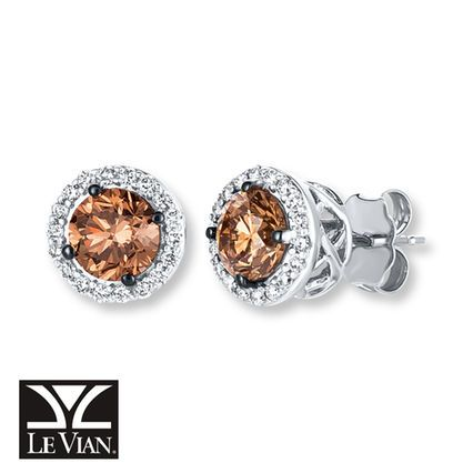 The Clic Stud Sweetened With Le Vian Chocolate Diamonds 1 5 8 Ct Tw In 14k Vanilla Gold
