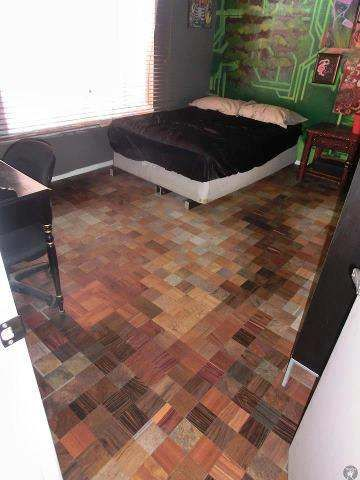 Recycled Flooring This Floor Is Made Out Of The Free Floor Tile Samples From Home Depot Wood