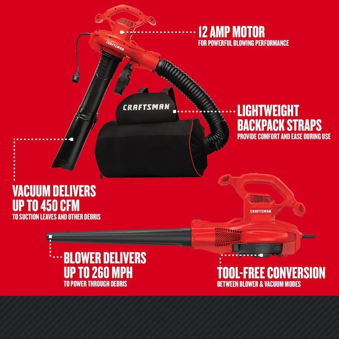 Craftsman 12 Amp 450 Cfm 260 Mph Corded Electric Leaf Blower Vacuum Kit Included Lowes Com Electric Leaf Blowers Blowers Vacuum