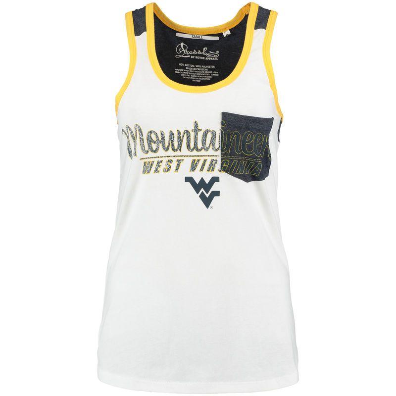 West Virginia Mountaineers Pressbox Women's Campbell Pocket Tank Top - White