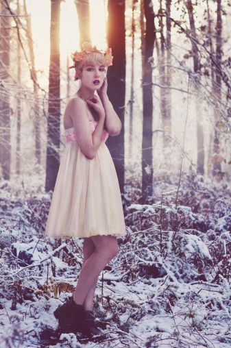 Royalty-free Image: Girl standing in forest at winter