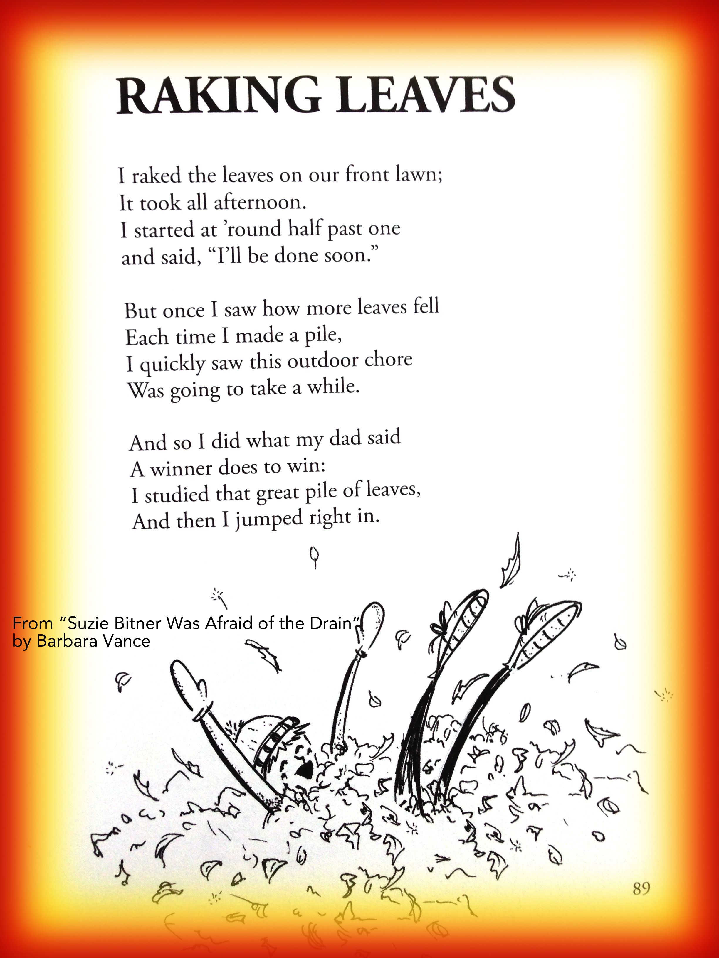 Fall Childrens Poem About Raking Leaves In Autumn Great For